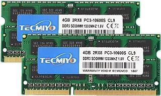 テクミヨ ノートPC用メモリ1.5V DDR3 4GB 1333(PC3-10600)4GB×2枚204Pin CL9 Non-ECCSO-DIMM Mac対応 永久保証