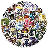 Cartoon Sticker Pack (50Pcs) The Monster Hunter Rise Waterproof Vinyl Stickers for Water Bottles,Laptop,Kids,Cars,Motorcycle,Bicycle,Skateboard Luggage,Bumper Stickers Hippie Decals