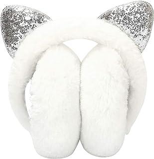 XYDZ Earmuffs Caldo D' inverno, Paraorecchie Dell'orecchio di Gatto Morbidi Pieghevoli Maglia Earmuffs con Paillettes per ...
