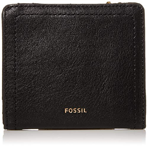 Fossil womens Logan Leather Bifold wallets, Black, One Size US