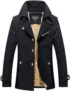 D.B.M Men's Winter Plus Velvet Mid-Length Slim with Epaulettes Trench Coat