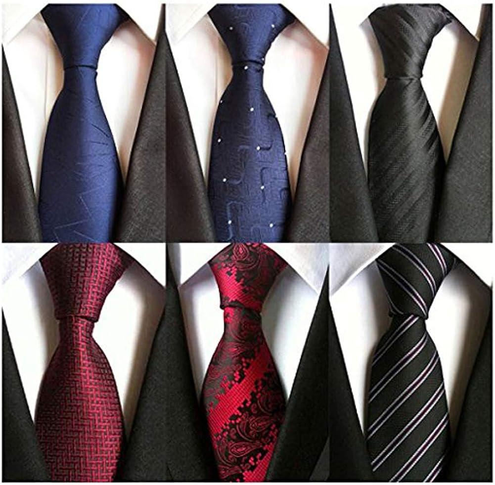 Weishang Pack of 6 Men's Classic Tie Silk Necktie Woven Jacquard Neck Ties (Set 3)