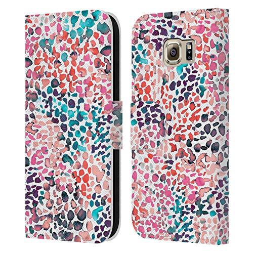 Head Case Designs Licenciado Oficialmente Ninola Pintura moteada Acuarela 2 Carcasa de Cuero Tipo Libro Compatible con Samsung Galaxy S6