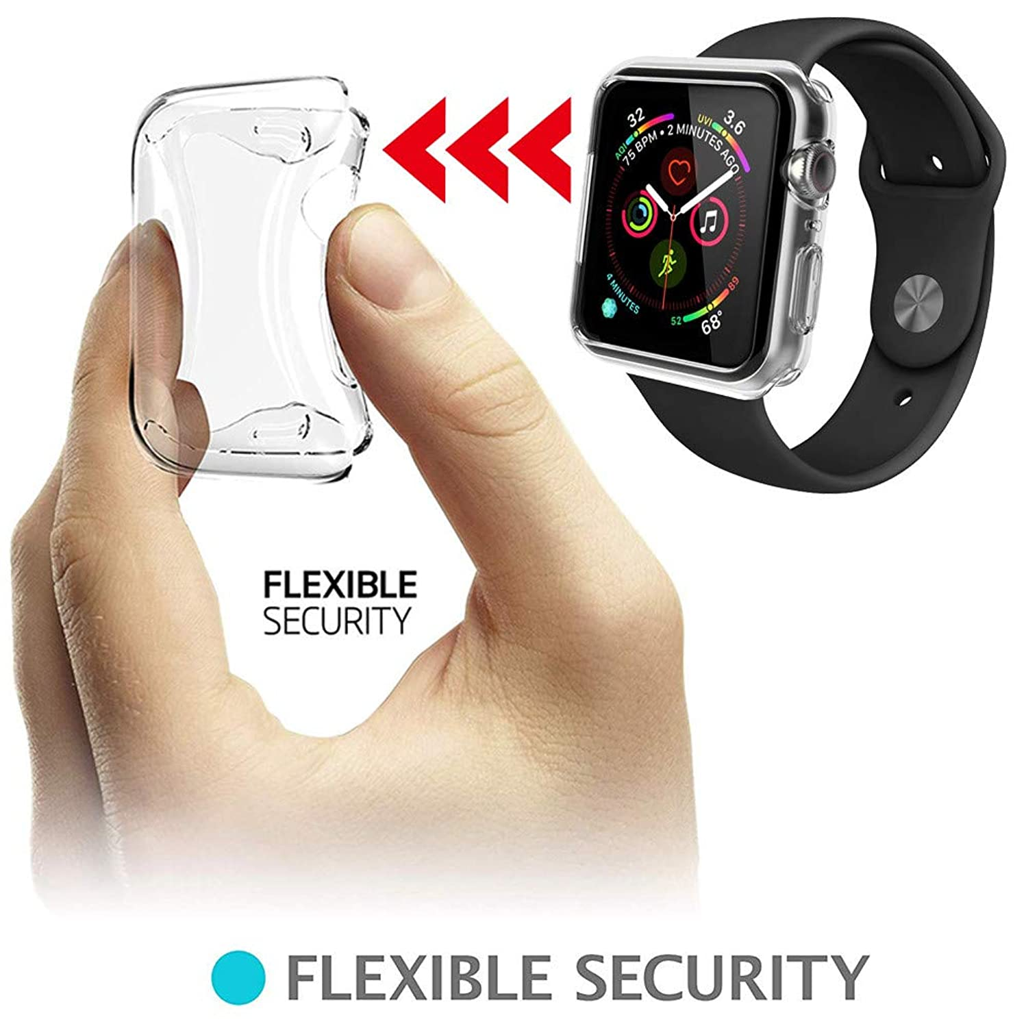 For Apple Watch 4 Case,Clear HD Ultra Thin Soft TPU Watch Cases Protective Bumper Case Cover For Apple Watch 4 (40MM, Clear)