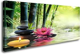 Cao Gen Decor Art-H41462 Canvas Art Zen Canvas Prints Spa Wall Decor 1 Panel Artwork Modern Pictures Framed for Home Decor - Spa Massage Treatment Safflower Water Lily Bamboo Black Stone