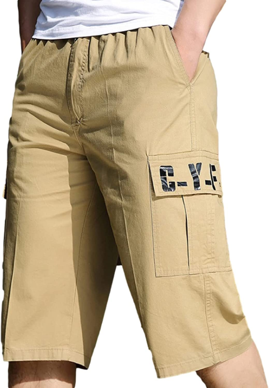 Segindy Men's Cargo Shorts Summer Fashion Stitching Pockets Outdoor Solid Color Large