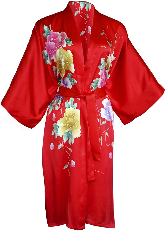 Amazing Grace Elephant Co. Women's Silk Kimono, Short Robe  Hand Painted Floral