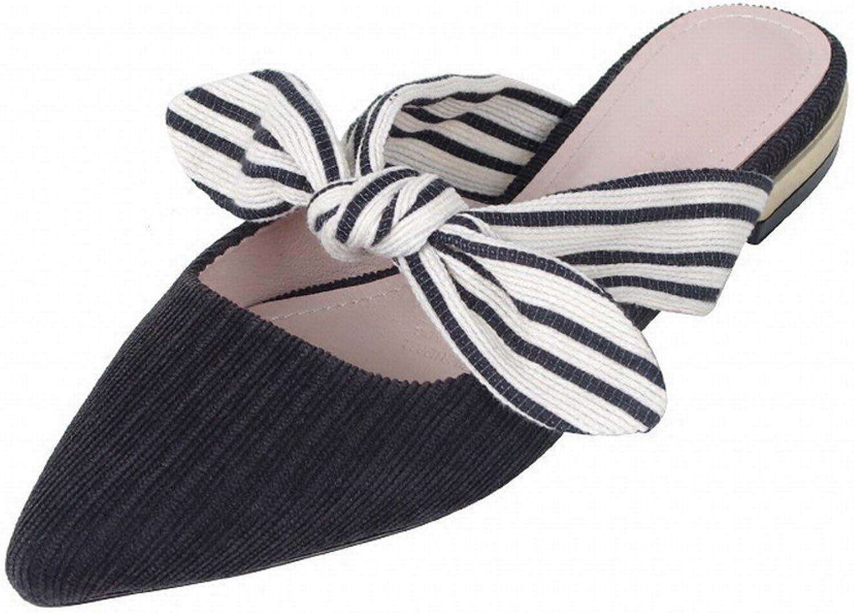 DHG DHG DHG Weibliche Flache Schuhe der Pantoffel Außerhalb der Sommerkleidung Baotou Beugen Feenhafte Schuhe der Schuhe Spitzte Faule Sandalen,Schwarz,40  bbd948