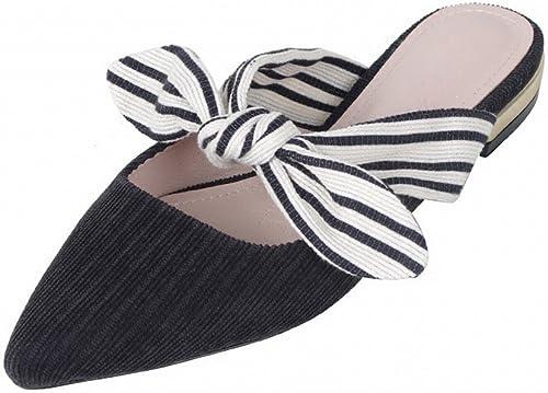DHG Pantoufles Femmes Chaussures Plates en en Dehors de L'été Porter Baotou Arc Fée Chaussures Pointues Sandales Paresseux,Noir,37  se hâta de voir