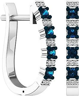 0.35 Carat (ctw) Round White & Blue Diamond Ladies Hoop Earrings 1/3 CT, Sterling Silver