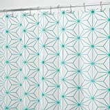 mDesign Duschvorhang aus PEVA - modernes Badzubehör für Ihre Dusche - Wasserabweisende Duschgardine mit geometrischem Muster - weiß/türkis