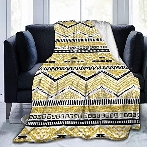 Manta mullida, diseño primitivo con líneas en zig-zag, rayas étnicas, Chevron, ultra suave, manta para bebé, cama, cama, TV, manta de 152 x 127 cm