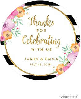 Andaz Press Floral Gold Glitter Print Wedding Collection, Personalized Round Circle Label Stickers, Thank You for Celebrating with US, 40-Pack, Custom Name