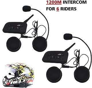 Motorcycle Helmet Bluetooth Intercom Headset,V6 BT 1200M Range 6 Riders Wireless Interphone Speakers IP65 Waterproof Communication Systems Kit for Motorbike Skiing Cycling Climbing,2 Pack