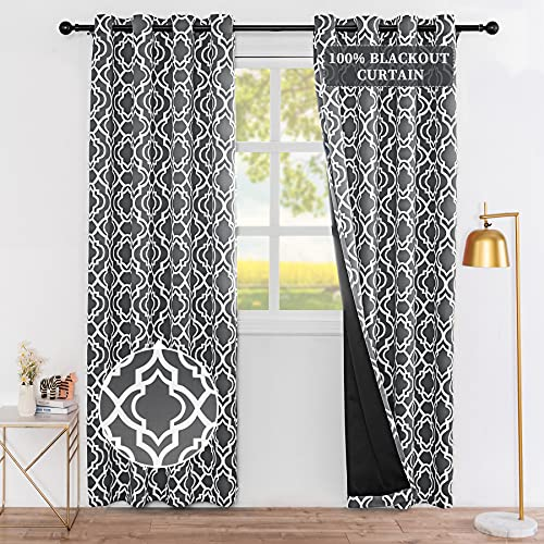 """Drewin 100% Blackout Curtains for Living Room 84 Inch Length Moroccan Gray Window Curtain Bedroom Decor Thermal Insulated Drapes Noise Reducing Drapery, 2 Panels Gray 52""""Wx84""""L"""