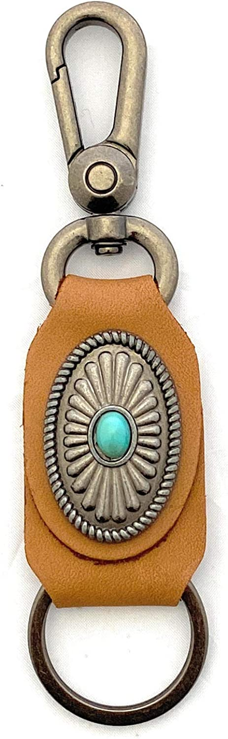 Real Leather Turquoise Stone Concho Key Chain - Coffee