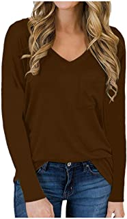 OULSEN Women Fashion Solid Color V Neck Long Sleeve T-shirt Spring Autumn Loose Casual Top Blouse Plus Size