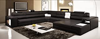 Model: Polaris (5022) - Black Contemporary Leather Sectional Sofa