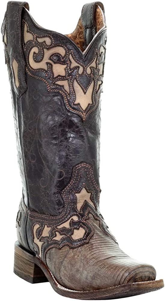 CORRAL Women's Lizard デポー Beige Inlay 訳ありセール 格安 Western Boot A373 Toe - Square