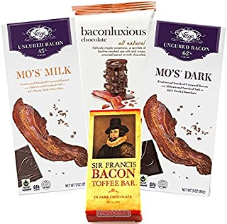 Deluxe Bacon Chocolate Sampler Gift Pack (4pc Set) - Vosges Milk Chocolate Bacon Bar, Vosges Dark Chocolate Bacon Bar, Chuao Maple Bacon Milk Chocolate Bar & Dark Chocolate Bacon Toffee Bar