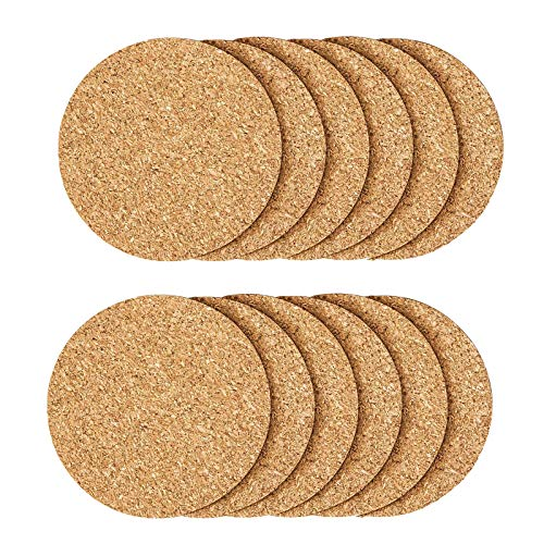 12 Pcs Cork Coaster for Drink , Absorbent Heat Resistant Reusable Tea or Coffee Coaster, Blank Coasters for Crafts,Warm Gifts Cork Coasters for Relatives and Friends.
