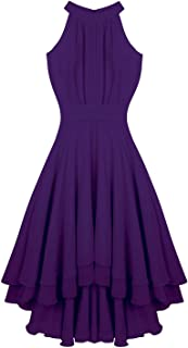 Sleeveless High Low Chiffon Elegant Bridesmaid Summer Dresses Formal Party Prom Gowns Dress