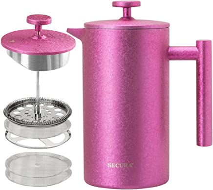 Secura French Press Coffee Maker, 304 Grade Stainless Steel Insulated Coffee Press with 2 Extra Screens, 34oz (1 Litre), Magenta