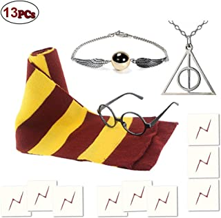 Striped Scarf Wizard Glasses with 9pcs Lightning Bolt Tattoos,Deathly Hallows Golden Snitch Necklace for Kids Halloween Christmas Cosplay Party Costumes Accessories Kid's Gift,13pcs