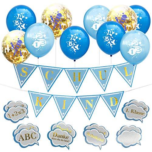 Oblique Unique® Schuleinführung Schulanfang Einschulung Deko Set für Jungs - Konfetti Luftballon Set mit ABC 123 Zuckertüte Motiv + 1 Schulkind Wimpel Girlande + Konfetti Set