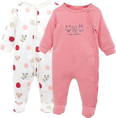 Pijama para Bebé 2 piezas Niños Niñas Pelele Manga Larga Mameluco Mono Body Algodón Trajes 0-3 Meses