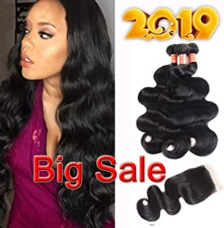 Simei 8A Brazilian Body Wave 3 Bundles with Closure 100% Unprocessed Human Virgin Hair Weave With Free Part Lace Closure Brazilian Virgin Hair Body Wave Hair Extensions(12 14 16+10