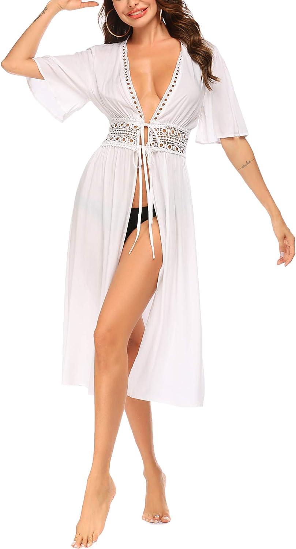 Ekouaer Women's Swimwear Cover Ups Sexy Open Front Beach Bikini Swimsuit Kimono Cardigan Long Flowy Beachwear