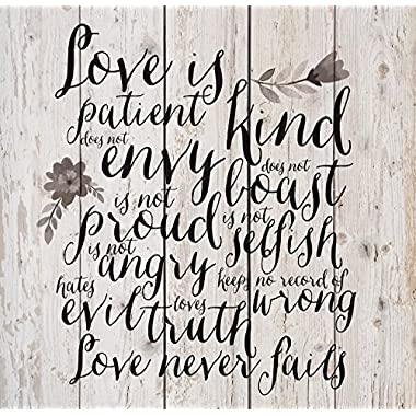 Love Is Patient Love Is Kind Floral White Wash 18 x 17 Inch Solid Pine Wood Pallet Wall Plaque Sign