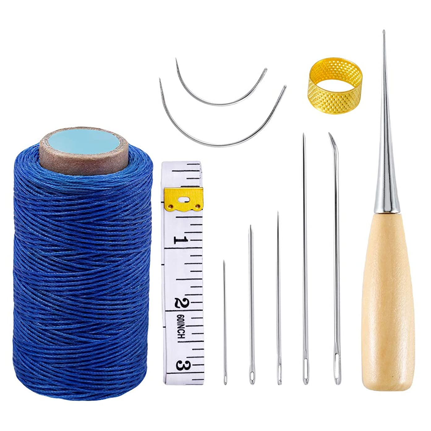 11Pcs Leather Craft Tool, 284yrd Heavy Duty Waxed Thread with Awl,Leather Sewing Needle,Sewing Waxed Coarse Whipping Thread for Leather Working,Leather Craft DIY (Blue)