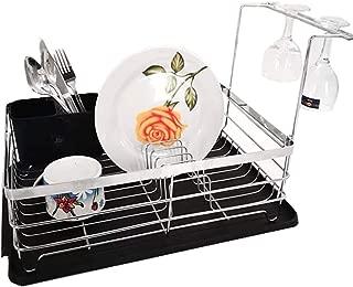 Premium Large Capacity Dish Storage Rack, Sink Dish Drainer Dinnerware Organizer with Drain Board (Silver)