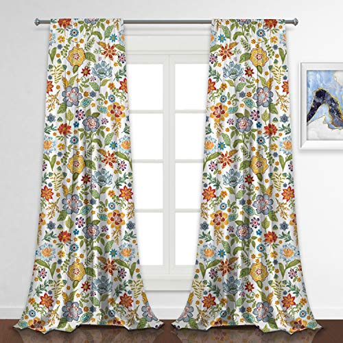 RosieLily Floral Curtains Flower Curtains Sydney Curtains Colorful Curtains for Living Room Boho Curtains for Bedroom Paisely Curtains Vintage Curtains 96 Inch Length Set of 2 Panels (52WX96L)