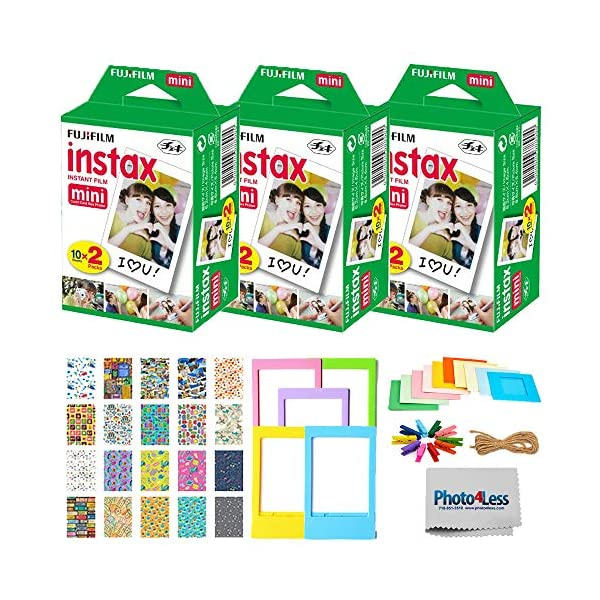 Fujifilm Instax Mini Twin Pack Instant Film (60 Exposures) + Travel Stickers + 5 Colored Frames + Hanging Frames – Fuji Instax Accessory Kit