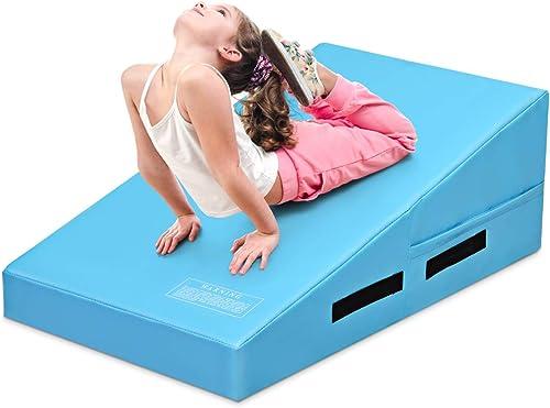 high quality Giantex Incline online sale Gymnastics Mat, w/Carrying Handles, 37.5'' X 23''X 14'' Non-Folding Cheese Wedge Gymnastics high quality Mat for Kids Play, Home Exercise, Aerobics sale
