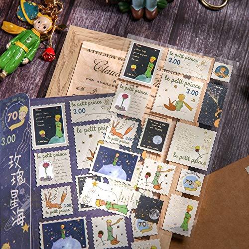 PMSMT Conjunto de Pegatinas Washi, Pegatinas de papelería Vintage, Sello de matasellos, Seta del Principito, Etiqueta Decorativa DIY para álbum de Recortes