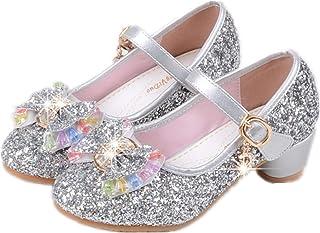 edf63a1f2355ee YOGLY Babies Fille Chaussure à Talon Enfant Ballerine Princesse avec  Paillettes Noeud Papillon Chausson Maryjane