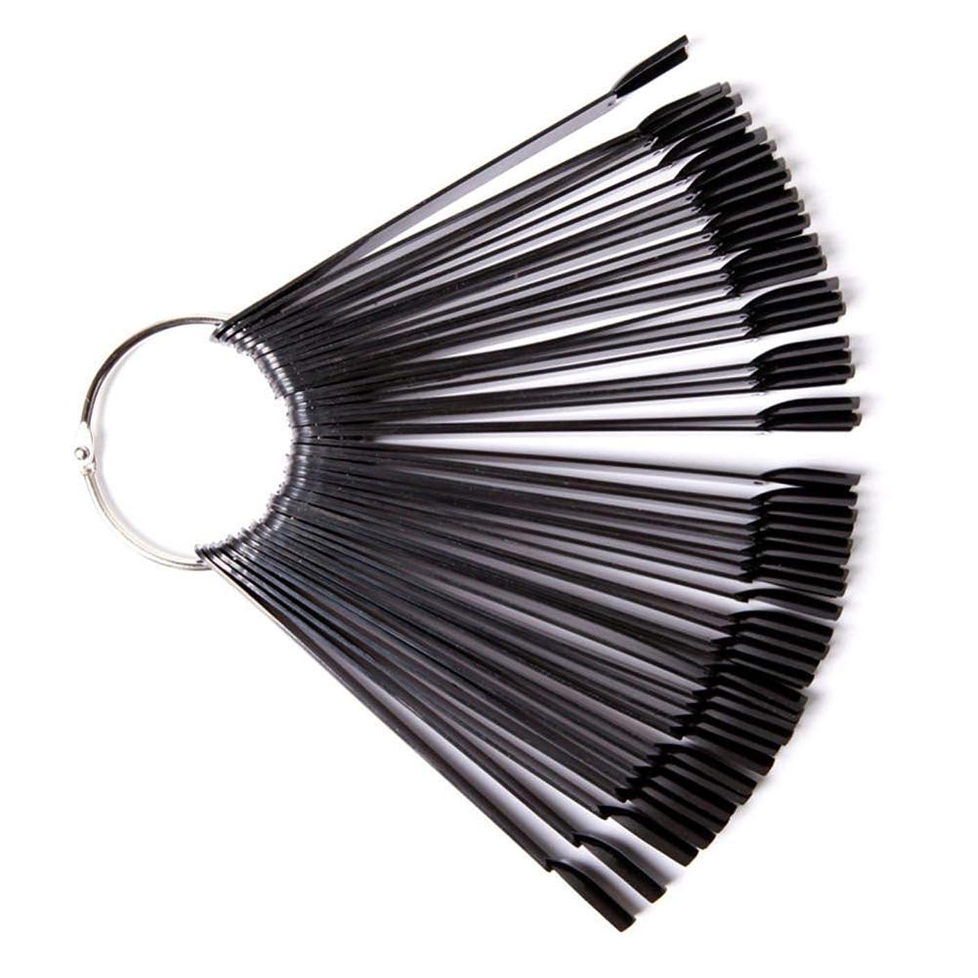 ペインギリック無臭レンダリングネイルアートディスプレイスタンド 50色表示ドスパイラルファン型 ディスプレイスタンドネイルポリッシュディスプレイホルダーマニキュアアクセサリー 50ピース(ブラック)