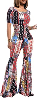 YouSexy Sexy Jumpsuits for Women Floral Print Deep V Neck One Piece Long Sleeve Jumpsuits