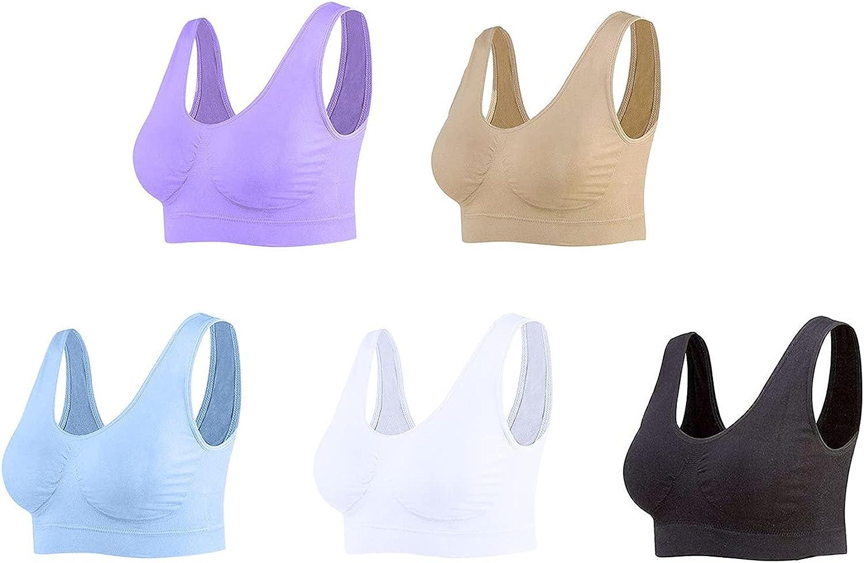 Women's 5 Pack Seamless Comfortable Sports Bra with Removable Pads Wire-Free Bra Yoga Sport Sleep Bra