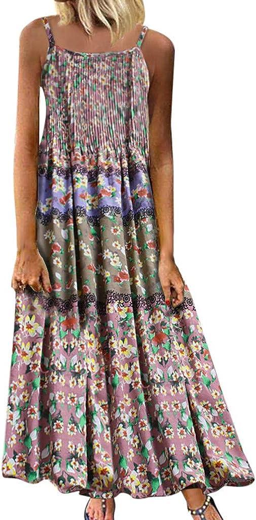 iQKA Women Plus Size Sleeveless Straplesss Casual Loose Long Dress Vintage Floral Printed Cotton Linen Maxi Dresses