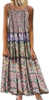✿ Women Casual Plus Size Short Sleeve Cold Shoulder Boho Flower Print Long Dress(L-5XL)