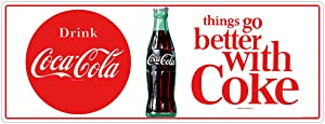 Drink Coca-Cola Better with Coke 1960s Wall Decal 24 x 9 Kitchen Decor Vintage Style