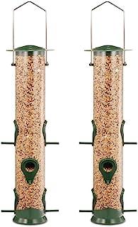 Ointo Garden Tube Bird Feeder with 6 Feeding Ports, Premium Hard Plastic Outdoor Birdfeeder with Steel Hanger(Pack of 2)