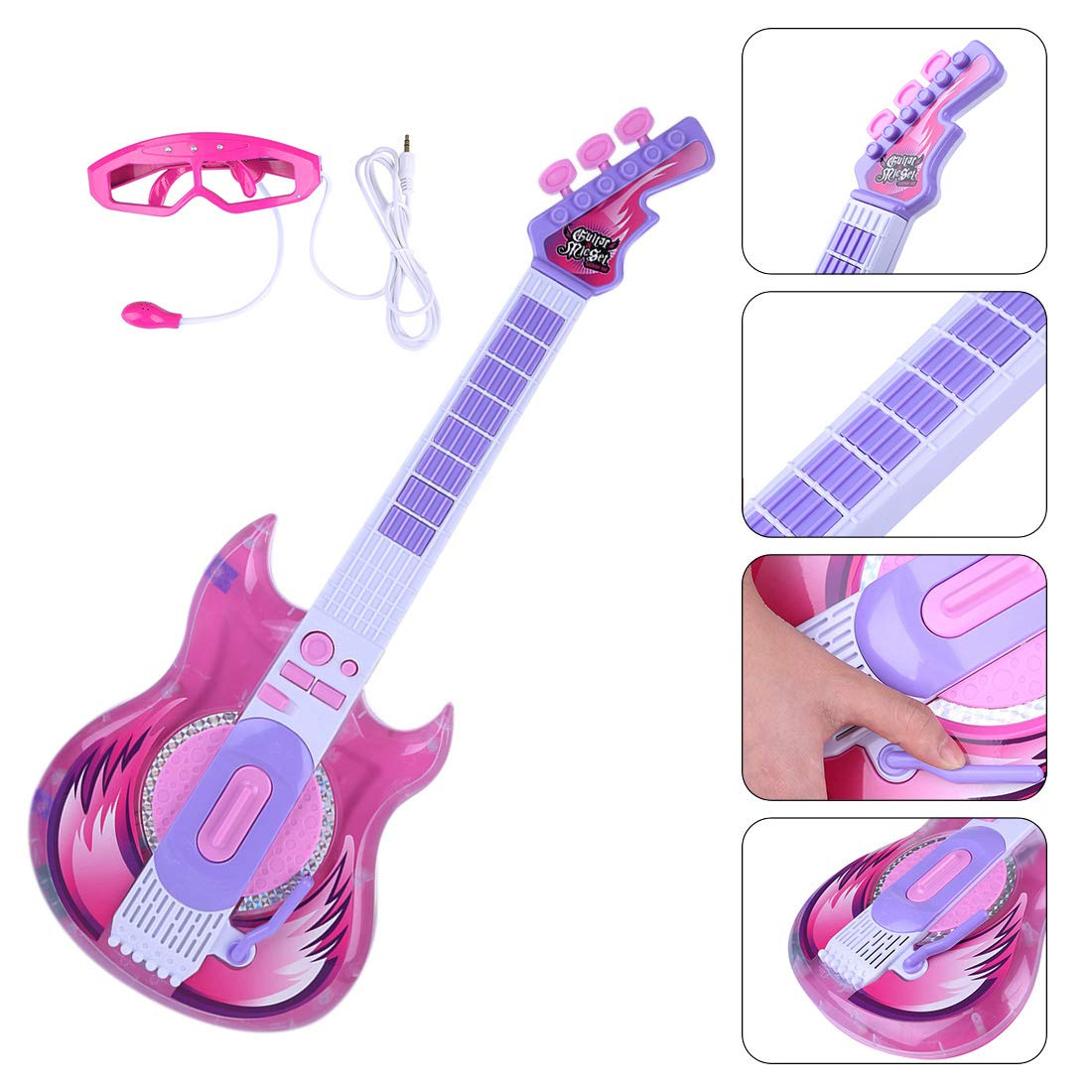 Cheap Yamix Kids Guitar Toy Guitar for Girls Boys Electric Guitars Toys for Kids Music Instruments Educational Toys with Glasses Microphone Black Friday & Cyber Monday 2019