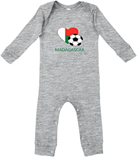 Love Soccer Heart Madagascar Style 2 Cotton Long Sleeve Envelope Neck Unisex Baby Legged Long Rib Coverall Bodysuit - Oxford Gray, 18 Months