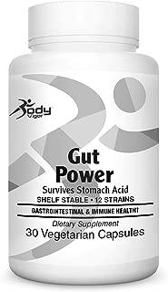 Body Vigor Gut Power, 100 Billion Probiotic, 12 Strains, Supports Digestive Health, Shelf Stable, 30 Vegetarian Capsules